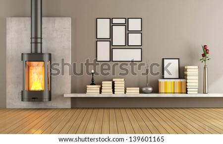 Empty living room with modern fireplace - rendering