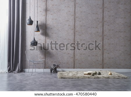 empty living room with modern interior decor and metal chairs and carpet wall lamp