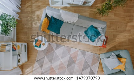 Empty Living Room with Nobody in it. Modern Interior with Carpet, Grey Sofa with Blue and Yellow Pillows, Chair, Coffee Table, Shelf with Books, Green Plants and Wooden Floor. Top View.