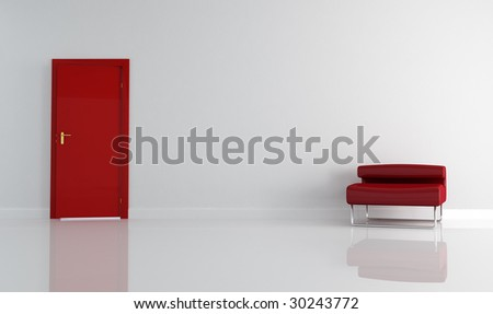 empty living room with red door and armchair