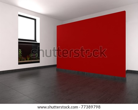 Living Room on Empty Living Room With Red Wall And Aquarium Stock Photo 77389798