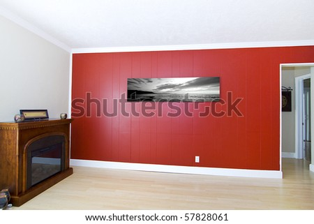 "Empty Living Room with ""Sunset on the Beach"" picture by the photographer"
