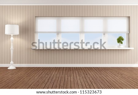 Empty living room with white windows - rendering