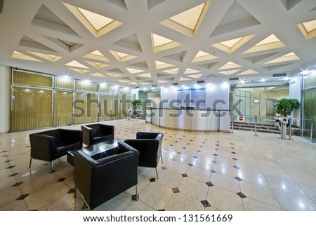 Empty lobby at business center - stock photo