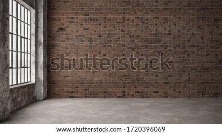 Empty, loft industrial grunge interior. Old brick walls and big windows.  Interior concept background .3d Render