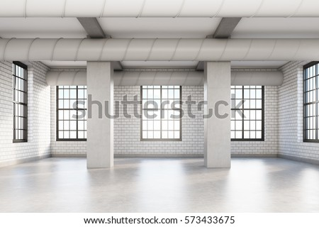 Empty loft room with white brick walls, columns and pipes near the ceiling. Concept of a comfortable office. 3d rendering. Mock up. #573433675
