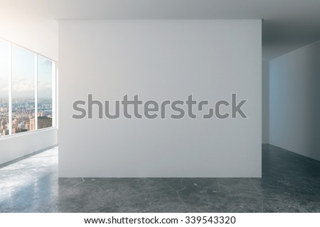 Empty loft room with white walls, city view and concrete floor 3D Render #339543320