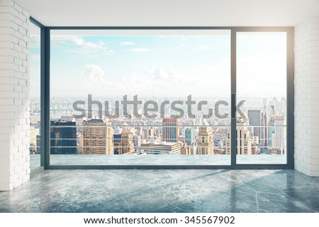 Empty loft style room with concrete floor and city view 3D Render