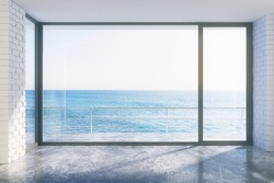 Empty loft style with concrete floor and ocean view 3D Render
