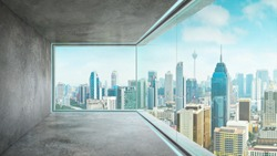 Empty loft unfurnished contemporary interior office with city skyline and buildings city from glass window .
