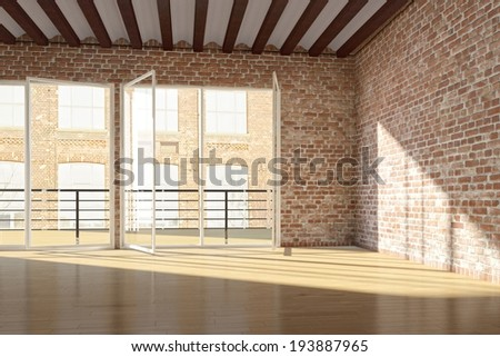Empty loft with red brick wall and open windows