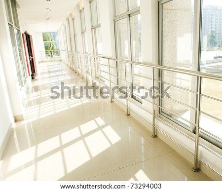 empty long corridor in hospital.