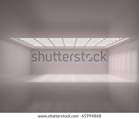 Empty Long Room - 3d illustration