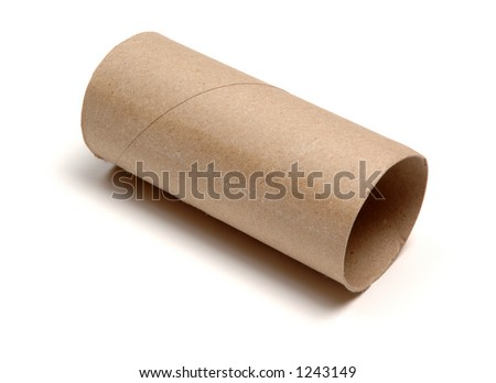 Empty loo roll, isolated on white background. - stock photo
