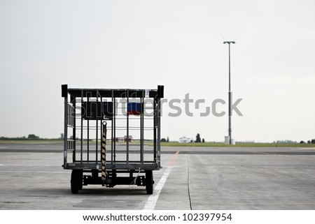 Empty luggage cart at the airport, Prague, Czech Republic
