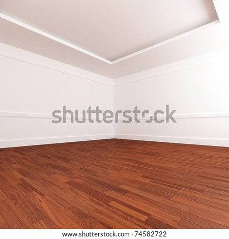 Empty luminous and roomy interior whit parquet pave