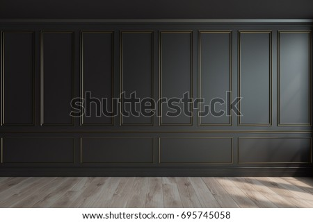 Empty luxury room interior with black walls, frame like decoration elements on them and a wooden floor. 3d rendering, mock up