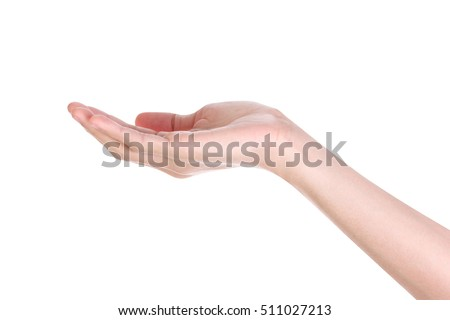 Empty man hand holding isolated on white background. Clipping path.