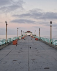 Empty Manhattan Beach Pier during COVID-19 in Manhattan Beach, California