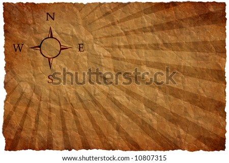 Empty map on a crumple sheet with a wind rose on the upper left corner
