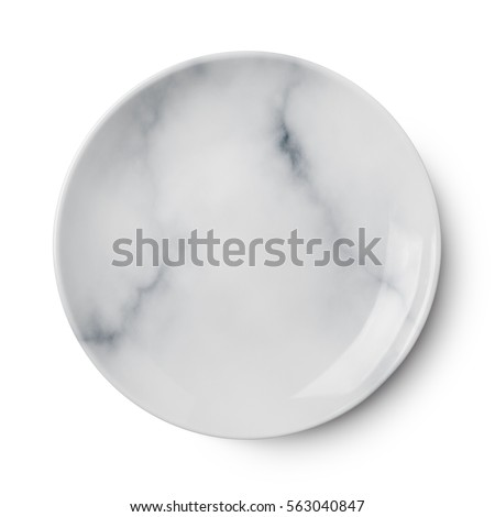 Empty marble ceramic round plate isolated on white