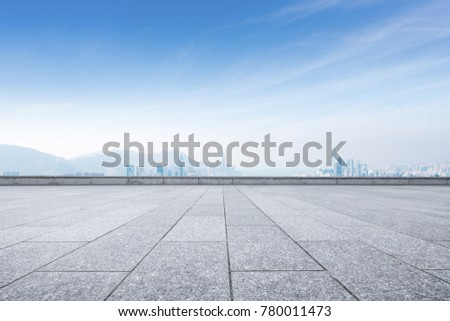 empty marble floor and cityscape of hong kong in blue cloud sky  #780011473
