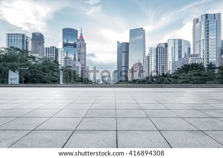empty marble floor with cityscape and skyline in cloud sky #416894308