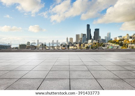 Shutterstock empty marble floor with cityscape and skyline of seattle