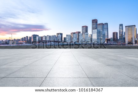 empty marble floor with panoramic cityscape #1016184367