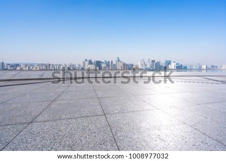 empty marble floor with panoramic cityscape in shanghai #1008977032