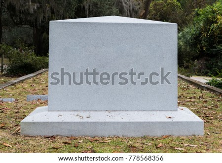 Empty Marble Gravestone in Historic Cemetery in Southern USa - Shutterstock ID 778568356
