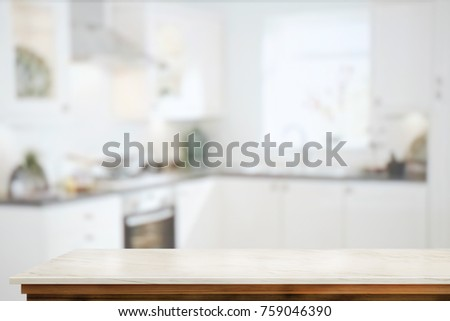 Empty marble table counter and kitchen background. for product display montage. #759046390