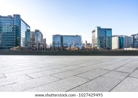 empty marble with modern office building #1027429495