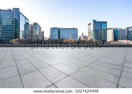 empty marble with modern office building