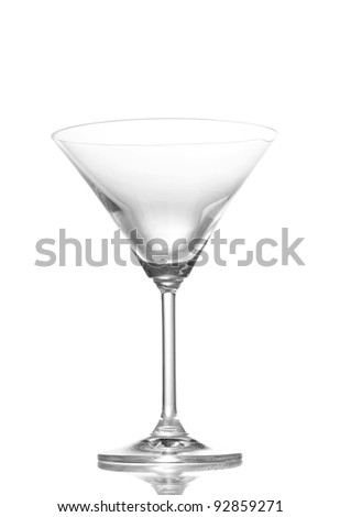 empty martini glass isolated on white