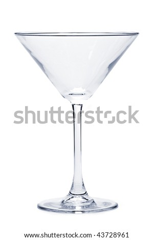 Empty martini glass isolated on white background - stock photo