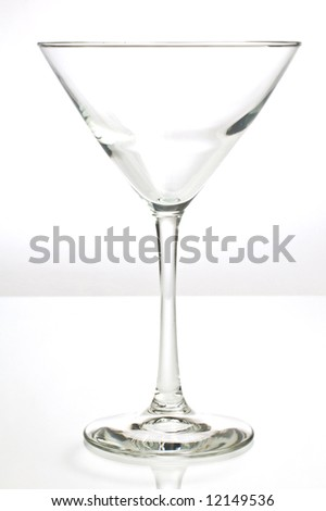 Empty martini glass shot against white