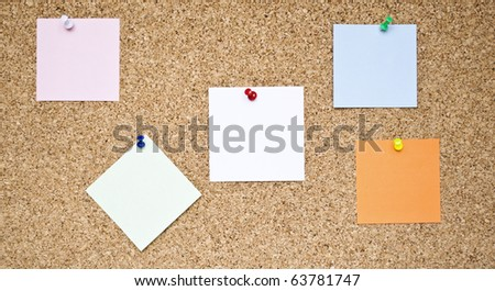 Empty memo notes on wood background