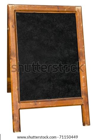 Empty menu board stand sign isolated over white. - stock photo