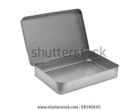 empty metal box isolated - stock photo