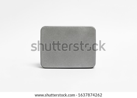 Empty Metal Box Mock up isolated on white background. Steel container or accessory package for your design.High resolution photo.Top view Stockfoto ©