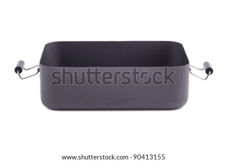 Empty metal box with handles on a white background
