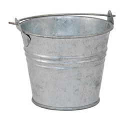 Empty metal bucket, isolated on a white background