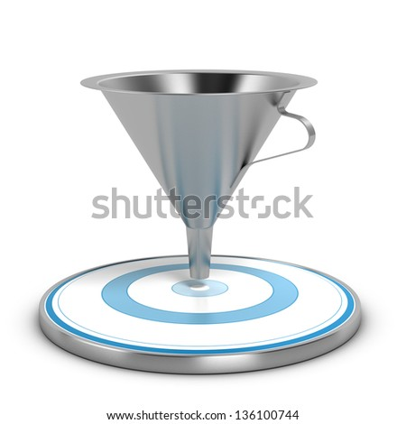 Empty metal funnel and blue target over white background, concept of conversion rate