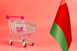 Empty metal shopping basket and the flag of Belarus on a colored background the concept of a consumer basket