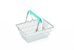 Empty metal shopping basket isolated on white background, rational consumption concept, conscious consumption trend