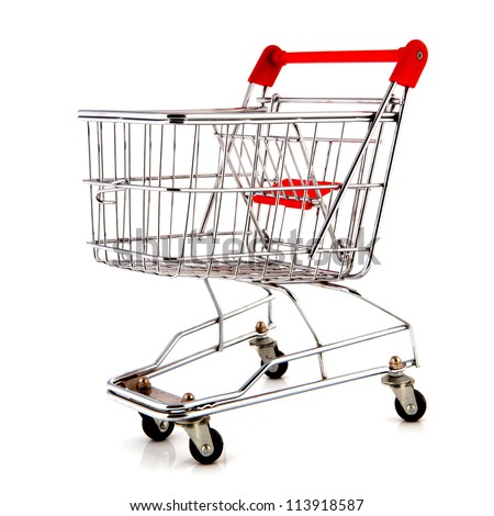 empty metal shopping cart with child seat