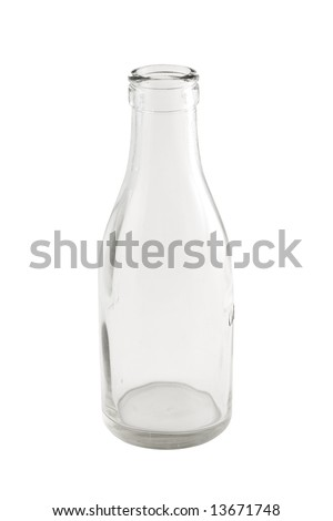 Empty Milk bottle isolated with clipping path