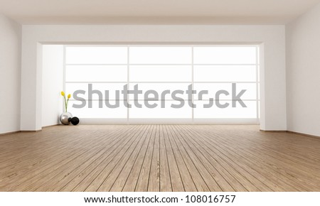 Empty minimalist room with big window - rendering