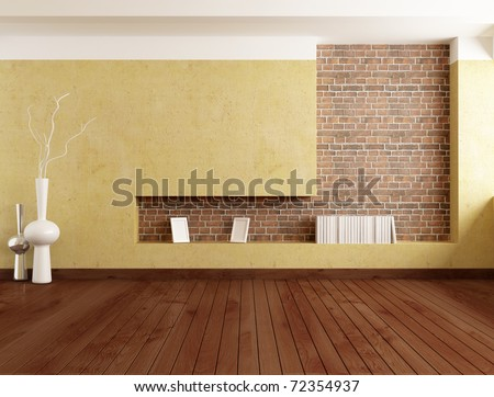 empty minimalist room with plaster wall and brick niche - rendering - stock photo